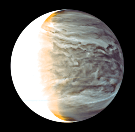 Figure 2a: False color image of cloud patterns on the night side of Venus taken by the Akatsuki's IR2 camera.