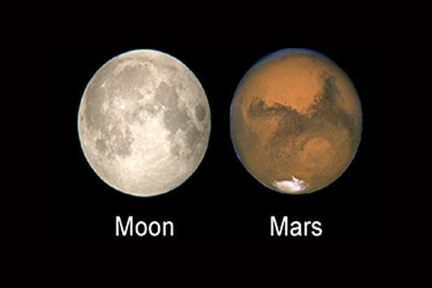 Mars is as big as the moon.