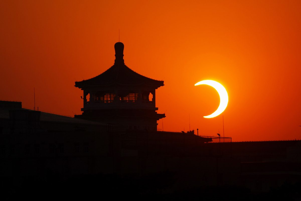 Annular Solar Eclipse from Tiananmen Square