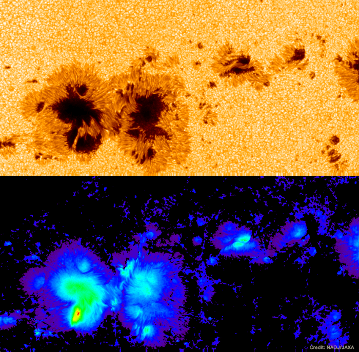 Snapshot of a sunspot observed by the Hinode spacecraft.