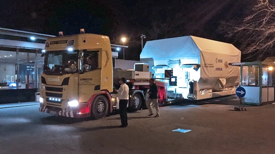 ESA's Jupiter explorer Juice arrives for final integration at Airbus facilities in Friedrichshafen, Germany