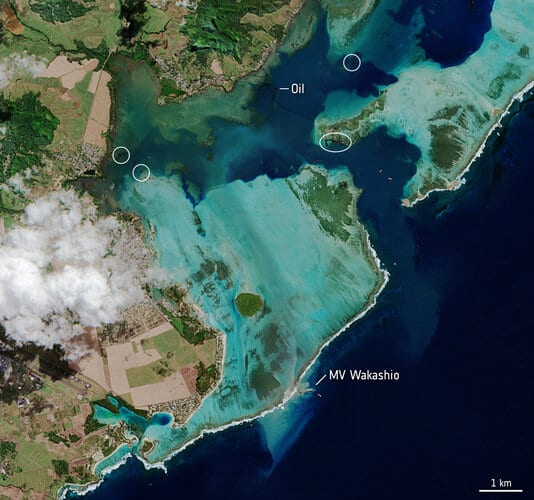 Satellite images are being used to monitor the oil spill off the coast of Mauritius.