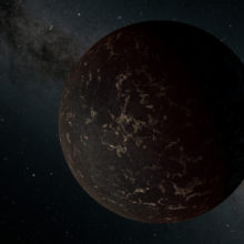 This artist's illustration depicts the exoplanet LHS 3844b, which is 1.3 times the mass of Earth and orbits an M dwarf star. The planet's surface may be covered mostly in dark lava rock, with no apparent atmosphere, according to observations by NASA's Spi