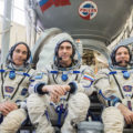 jsc2020e016220 - At the Gagarin Cosmonaut Training Center in Star City, Russia, Expedition 63 crewmembers Chris Cassidy of NASA (left) and Anatoly Ivanishin (center) and Ivan Vagner of Roscosmos (right) pose for pictures in front of a Soyuz trainer during