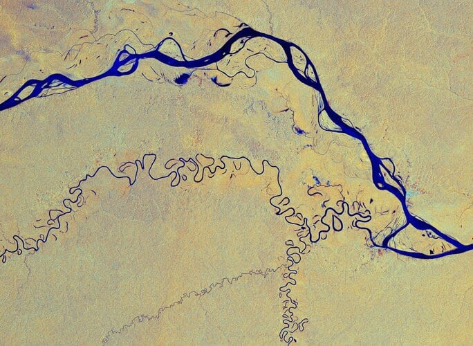 This image, captured by Copernicus Sentinel-1, shows the Amazon River meandering through one of the most vital ecosystems in the world – the Amazon rainforest in South America.