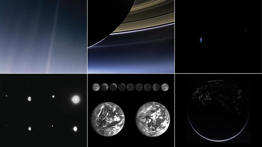 A mosaic of spacecraft images of Earth from locations across the Solar System.