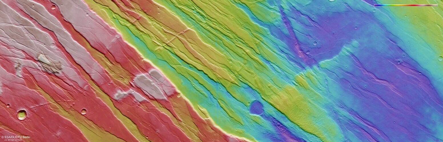Topographic view of Tempe Fossae on Mars