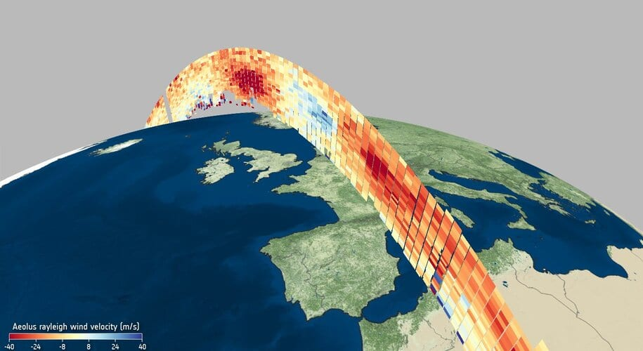 Wind profile from Aeolus 6 May 2020